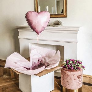 Balionai dėžėje dovana vestuvinės