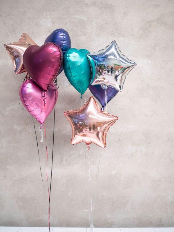 Foliniai balionai žvaigždutės širdelės švenčių dekoravimui