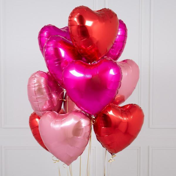 Foliniai raudoni balionai širdelės formos