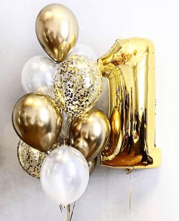 Foliniai balionai skaičiai užpildyti aukso sidabro spalvų