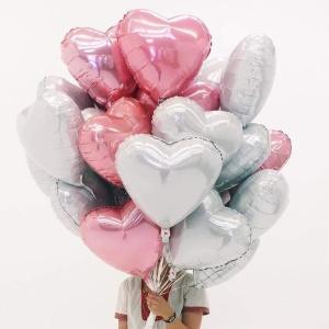 Folinių balionų širdelių puokštė auksinės, sidabrinės, rose gold, raudonos spalvų