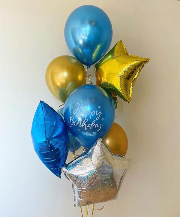 Helio balionų puokštė gimtadieniams įvairių formų