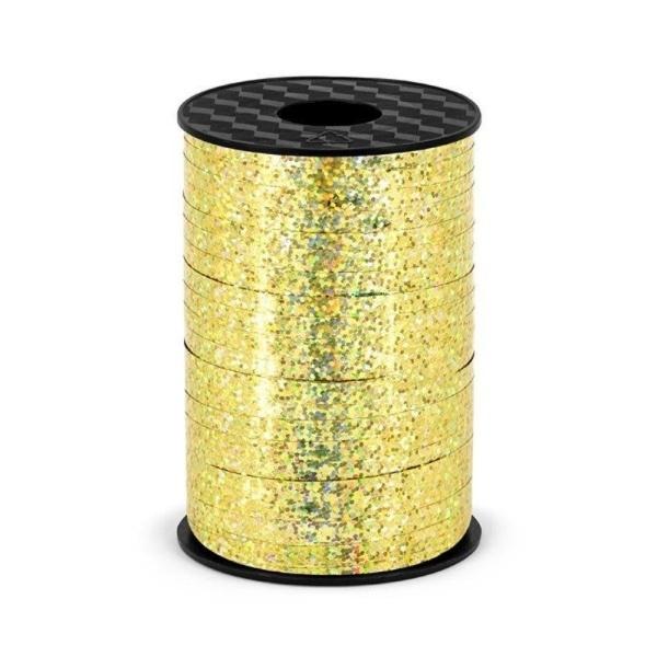 Plastikinė juostelė, holografinio aukso spalvos (5 mm/225 m)